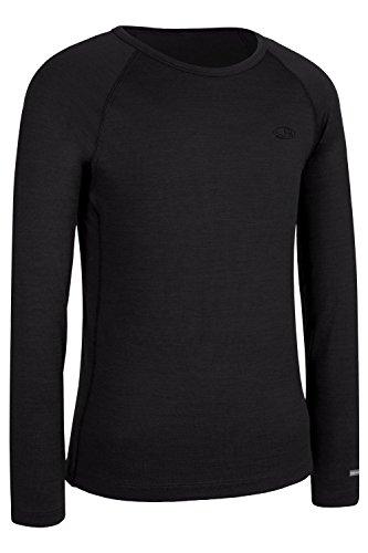 Pure Natura Wool Baby (Icebreaker Boy's Crewe T-shirt, Black, 7-8 Years)