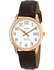 Timex Mens T2P563 Easy Reader Rose Gold-Tone Brown Leather Strap Watch