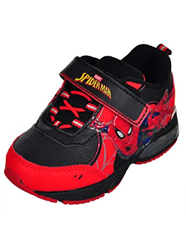 Disney Kids Spider Man Lighted RED Black Size 7