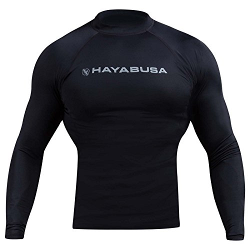 Hayabusa Haburi Long Sleeve BJJ Rash Guards (Black, - Hayabusa Guard Rash