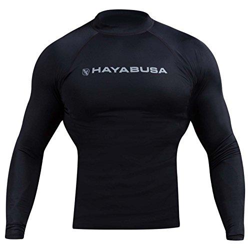 Hayabusa Haburi Long Sleeve BJJ Rash Guards (Black, - Guard Hayabusa Rash
