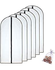 HomeClean Garment Bags (Pack of 6) Black Side Breathable Clear Full Zipper Bags for Clothes Storage