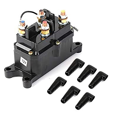 Issyzone Winch Solenoid Relay Contactor, Off-Road Winch Rocker Thumb Switch with 6 Protecting caps for ATV UTV