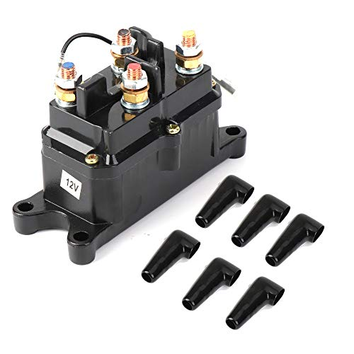 Cap Winch - 12V 250A Winch Solenoid Relay Contactor, ISSYZONE Off-road Winch Rocker Thumb Switch with 6 Protecting caps for ATV UTV 2000-5000lbs Winch