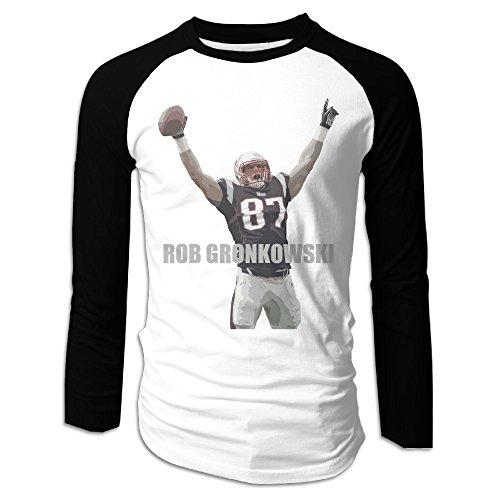Creamfly Mens New England Rob Gronkowski Long Sleeve Raglan Baseball Tshirt M