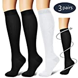 Laite Hebe Compression Socks,(3 Pairs) Compression Sock Women & Men - Best Running, Athletic Sports, Crossfit, Flight Travel(Multti-colors15-L/XL)