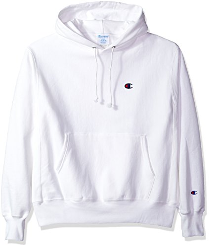 Champion LIFE Men's Reverse Weave Pullover Hoodie, White/Left Chest C Logo, Large