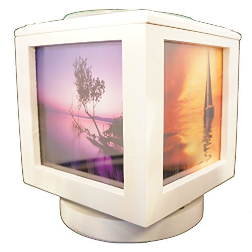 Memory Box Picture Frame and Electric Wickless Candle Wax Melt Warmer or Oil Burner Lamp Combo - Free Scenic Photo Set (White)