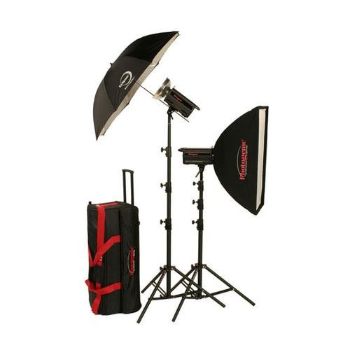 1000 Monolights - Photogenic PL2715K 2000 W/S Solair Studio Power Kit, 2 x 1000W/s Monolights, 24x32 Soft Box, Eclipse 45