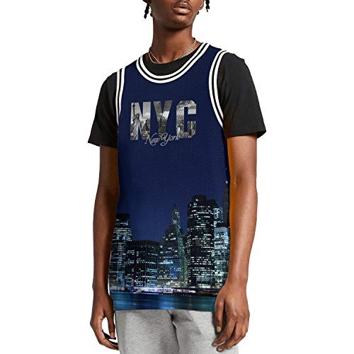 SUNIE Mens 3D Printed I Love NY New York NYC Casual Basketball Jerseys Tank Top Vest -