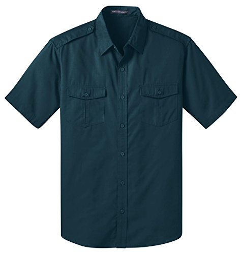 Shirt Sleeve Short Twill Mens (Port Authority Stain-Resistant Short Sleeve Twill Shirt, L, Ultra Blue)