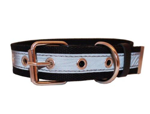 Reflective Web - Cotton Web/Leather Reflective Dog Collar 24