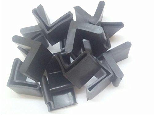 20 Pcs 30mm x 30mm L Shaped Furniture Angle Iron Black Rubber Foot -