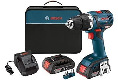 Bosch DDS182-02 18-volt Brushless 1/2-Inch Compact Tough Drill/Driver with 2.0Ah Batteries, Charger and Case