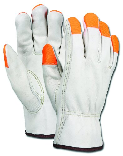 MCR Safety 3213XLCHVSP Grain Cow Full Leather Driver Industry Grade Men's Gloves with High Visibility Orange Fingertips and Keystone Thumb, Cream, X-Large, 1-Pair