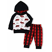 Yiner Easter Baby Boy Girl Clothes Bear Deer Printed Hoodie Tops +Red Plaid Long Pants 3-6 Months