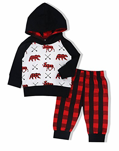 Plaid Top Hat (Baby Boys Girls Clothes Bear Deer Printed Outfits Hoodie Tops +Red Plaid Long Pants+Hat Set)