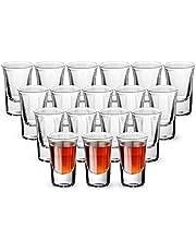 Shot Glass, YULEER 1-Ounce Whiskey Glass Set, Clear Heavy Base Shot Glasses Set of 18