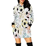 InterestPrint Soccer Ball Women's Long Sleeve Hoodie Mini Dress Sweatshirt Medium