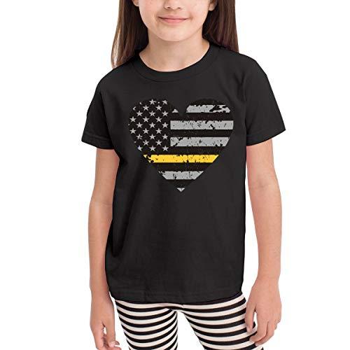 Thin Gold Line Dispatcher Distressed Flag Heart Novelty Toddler/Infant Crewneck Short Sleeve Shirt Tee Jersey for 2-6 - Gold Crewneck Distressed
