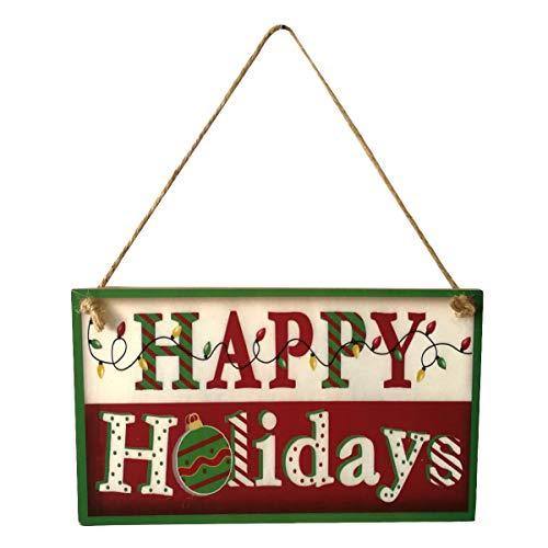 BESTOYARD ハッピーホリデーズクリスマスウッドバナーデコレーションドアと窓ハンギングプレートクリスマスオーナメントハンギングボードの商品画像