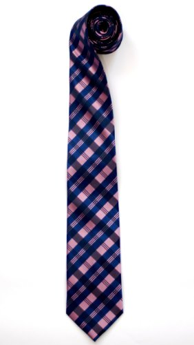 Retreez Tartan Check Patterns Woven Microfiber Men's Tie - Pink and Blue