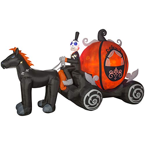 Tamie's Tees And Things Ghost Skeleton Horse Driven Pumpkin Carriage Spooky Halloween 11' Led Lights Inflatable Yard Decor -