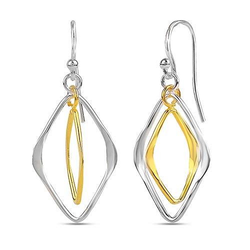 - LeCalla Sterling Silver Jewelry Two-Tone Diamond-Shape Drop Dangler Earrings for Women Girl