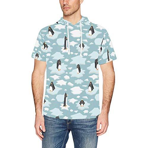 InterestPrint Men's Short Sleeve Hoodies Cute Penguins Casual Hooded T-Shirt Tops M