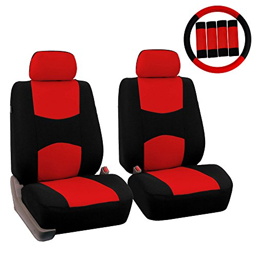 FH Group FH-FB050102 Pair Set Flat Cloth Car Seat Covers W. FH2033 Steering Wheel Cover & Seat Belt Pads, Red/Black- Fit Most Car, Truck, SUV, or Van ()