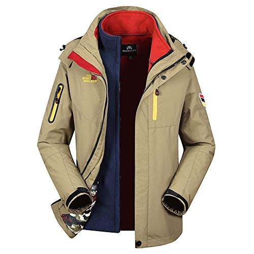 Winter Coat,[Three in One] Aurorax Waterproof Windproof Outdoor Hooded Jacket Parka M-4XL (Khaki, M)
