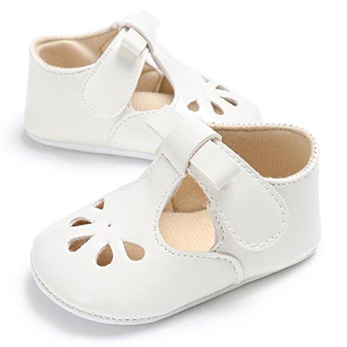Baby Girls Christening Baptism Mary Jane Soft Sole Classic Hollow Princess Dress Flat Shoes White Size L by LINKEY (Image #1)