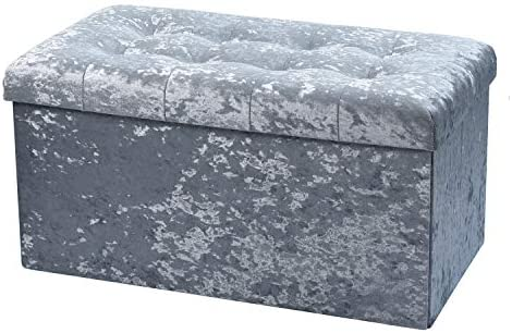 Large Fold Flat Ottoman Storage - Silver Velvet Velour Finish - Extra Thick Comfortable Padded Seat - 76cm (L) x 38cm (W) x 38cm (H)