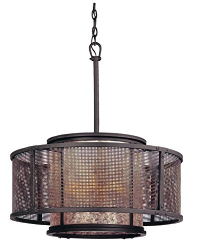 Troy Lighting Copper Mountain 6-Light Drum Pendant - Copper Mountain Bronze Finish with Silver Mica Glass (Troy Pendant Copper)