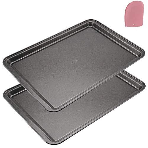 Mokpi Non-Stick Baking Pans Cookie Sheets Set for Oven Premium Baking Tray Rectangular Plate Bakeware, 14.5 x 10 x 1…