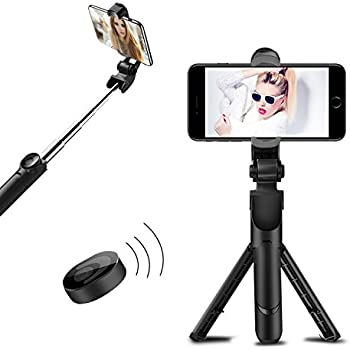 ITMAKE Selfie Stick with Built-In Tripod Stand and Bluetooth Remote Shutter, Selfie Stick Tripod with Remote for iphone 7 plus 6 6s 8 Plus X Android Samsung Galaxy S7 S8 Plus Edge