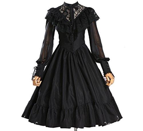 [로리타 의상]  긴 소매 미모레장 원피스 드레스 하라쥬쿠계 갈리 프릴 (옵션: 베일 , M, S, 화이트, 블랙)