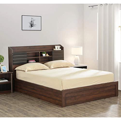 Furny King Size Vantamon Engineered Wood Bed with Box Storage   Natural Brownish Color