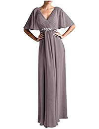 Women V Neck Half Sleeveles Long Evening Dress Formal Gowns V265LF