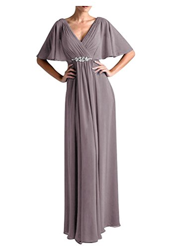 VaniaDress Women V Neck Half Sleeveles Long Evening Dress Formal Gowns V265LF Gray US18W