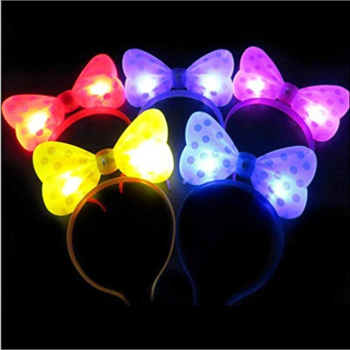 5pcs Light Up Bow Ties Headbands LED Flashing Blinking Big Micky Hair Bows Hair Band Headband Halloween Fancy Party Ball -