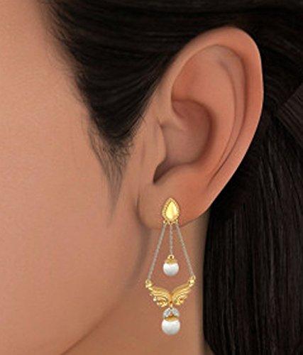 Or jaune 18K 0,06CT TW White-diamond (IJ | SI) et blanc perle Pendants d'oreilles