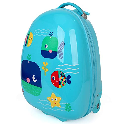 Kids Luggage Boys with Wheels Rolling Suitcase Hard Case Blue 16 Inch Cute Animals Printed Whales Ocean PC+ABS NEWCOM
