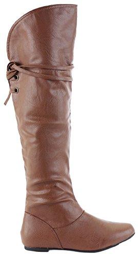 shoeFashionista Womens Black Wide Calf Leg Ladies Winter Biker Riding Style Flat Low Heel Knee High Boots Size Style 34 - Tan