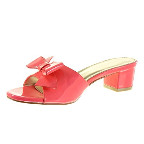 Angkorly Women's Fashion Shoes Sandals Mules - Bows Block High Heel 5 cm Pink c4yCGdq