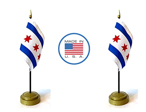 Made in The USA Flag Set. 2 City of Chicago Rayon 4