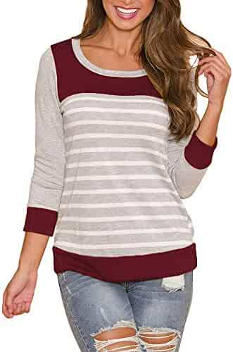 09b8bbfc87a Clearance ShenPr Women s Casual Tops Color Block Stripe V Neck Lace-Up Long  Sleeve Blouses