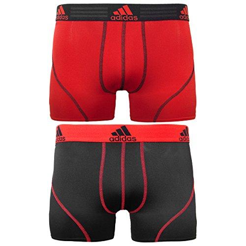 adidas Men's Sport Performance Climalite Trunk Underwear (2-Pack), Real Red/Black, Medium