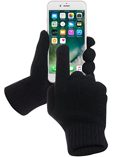 Touch Screen Gloves, GreatShield COZY [All Fingers | 95% Conductive Lambswool] Super Warm Unisex Winter Gloves for Smartphones, Tablets, Smartwatch, Kiosk & ATM (Size L - Black)