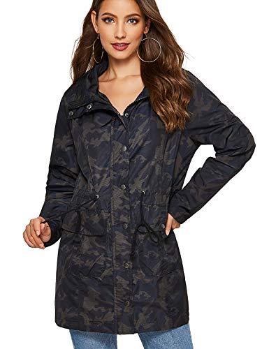 Escalier Women Lightweight Rain Jacket Waterproof Active Outdoor Hooded Raincoat Camouflage S (Womens Camo Rain Coats)